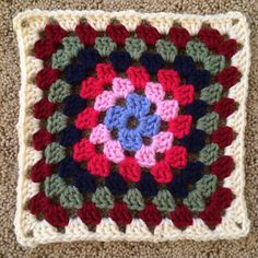 Crochet mood blanket 2014: Week 1: granny square reflecting many moods this first week of January. #crochetmoodblanket2014 #crochet #granny #square #blanket #afghan #grannysquare