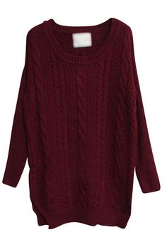 Wine Red Long Sleeve Split Pullovers Sweater, love this!!!