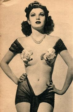 """Vintage show girl. Sheer and roses but just barely. For the """"Lingerie. Almost unclad"""" board."""