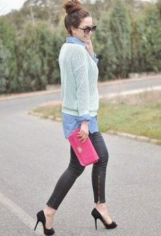 Lovely magic mint sweater with denim blue long shirt and black leather down zipped stylish pant and cute pink clutch and black high heels pu...