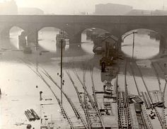 Liverpool - Railway lines near Bank Hall station are flooded when the canal's banks are burst by a bomb blast.