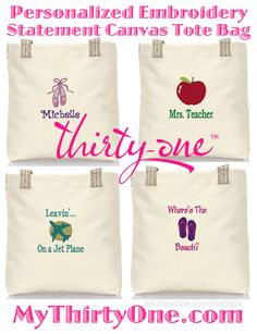 Embroidery gifts for teachers tote bags 58 ideas Embroidery Hoop Nursery, Cushion Embroidery, Embroidery Monogram, Shirt Embroidery, Hand Embroidery Designs, Monogram Pillows, Monogram Initials, Teacher Tote Bags, Teacher Gifts