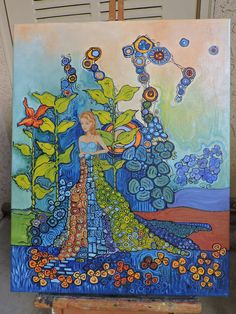 Original, Oil, Canvas, Gustav Klimt, Wedding Gift, Painting, Abstract, Gift for Her, Flowers, 16 x 20, Garden, Floral, Painting, Bath Room