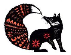 fox cut paper art
