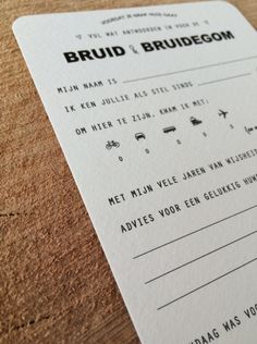 Invulkaarten BRUID & BRUIDEGOM