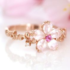 10K pink gold 0.01ct diamond ring custom order cherry blossom SAKURA Japan #Handmade