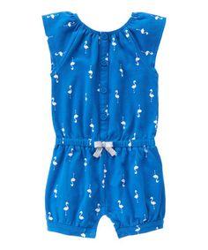 Ocean Blue Flamingo Angel-Sleeve Romper - Infant, Toddler & Girls #zulily #zulilyfinds
