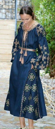 Beautiful embroidered quality linen, bohemian folk dress Please understand that this item is not mass produced, they are made to order. Although we can custom make any color and or style, they are eac Folk Fashion, Ethnic Fashion, Hijab Fashion, Fashion Dresses, Womens Fashion, Ethno Style, Bohemian Style, Boho Chic, Mode Boho
