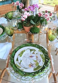 Spring, Summer Tablescape - lovely greens, pinks