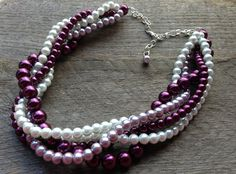 Purple and White Necklace Braided Cluster on by haileyallendesigns, $36.00