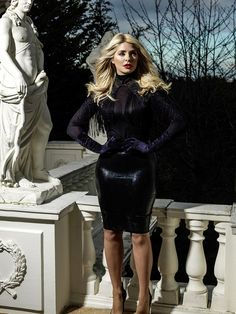 Holly Willoughby shows off her curves in satin and leather lingerie Brighton, Classy Women, Sexy Women, Holly Willoughby Legs, Leather Lingerie, Sexy Latex, Embellished Dress, Hollywood Celebrities, Stunning Dresses