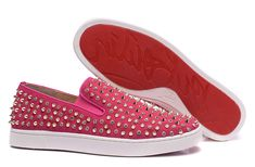 Christian Louboutin Roller 1c1s Spikes Suede Mens Flat Sneakers Shoes Fushia Gold Crystal