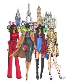 69 Super Ideas For Fashion Week Illustration Paris Illustration Paris, Fashion Illustration Sketches, Fashion Sketches, Art Illustrations, Arte Fashion, Fashion Wall Art, Fashion Prints, Paper Fashion, Fashion Posters