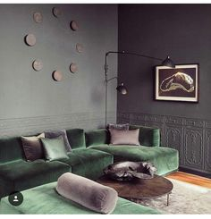 Maybe one day we can upgrade to a sectional. For now, green sofa – dark grey wal… Maybe one day we can upgrade to a sectional. For now, green sofa – dark grey walls. Canapé Design, Deco Design, Design Ideas, Design Trends, Inspiration Design, Design Color, Home Design, Wall Design, Interior Inspiration