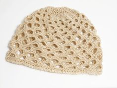 Crochet beanie.  Could make an awesome lightweight beanie for summer camping trips!