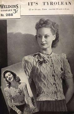 Details about 1940's Weldons 28 Knitting Pattern Women's Tyrolean Cardigan Rare…