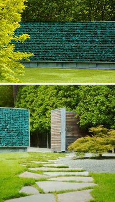 Glass bottle gabion wall - this may be the only gabion I've ever thought attractive...
