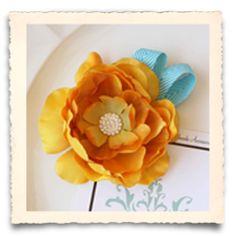 newborn prop:  Golden Rose Boutique Flower with Turquoise Chevron Ribbon