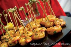 Little shrimp skewers are an easy way for guest to grab as they go for another beer during half time. This recipe for sauteed ginger shrimp is easy to prep and serve.
