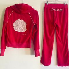 Bebe Logo Velour Track Suit Used - in very good condition. Jacket & matching drawstring pants are both a size Small.  Velour material with baby pink & silver detail on pants and jacket.  NO TRADES PLEASE bebe Pants Track Pants & Joggers