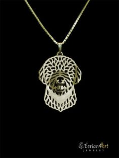 Lagotto Romagnolo gold pendant and by SiberianArtJewelry on Etsy, $120.00