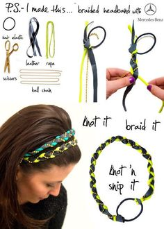 DIY Braided Headband. Hair Elastic, Scissors, Leather, Rope and Ball Chain.