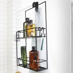 Tyylikäs ja käytännöllinen metallinen suihkuhylly tuo lisätilaa kylpyhuoneeseen. Hyllykössä kaksi metallihyllyä ja 2 s-koukkua.