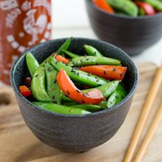 These Sriracha Snap Peas take less than 10 minutes to make. Super easy and super tasty!