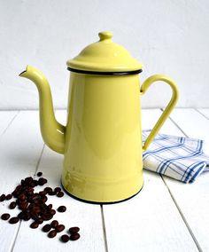 Vintage French Yellow Enamelware Coffee Pot Retro Enamel
