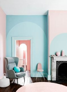 If you're tempted to dip your paintbrush into Pantone's pastel trend, mix it up by layering shades of the same hue, as shown above from Dulux.