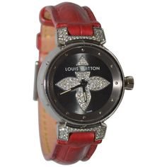 Louis Vuitton Tambour Bijoux Red Watch With Diamonds Louis Vuitton Watches, Louis Vuitton Dress, Army Watches, Popular Watches, Vintage Rolex, Beautiful Watches, Watch Brands, Stainless Steel Bracelet, Luxury Watches