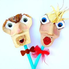 Meet Eggbert and egglizabeth egg carton puppets! Creative Activities For Kids, Creative Play, Craft Activities, Diy For Kids, Crafts For Kids, Library Activities, 4 Kids, Egg Carton Art, Egg Carton Crafts
