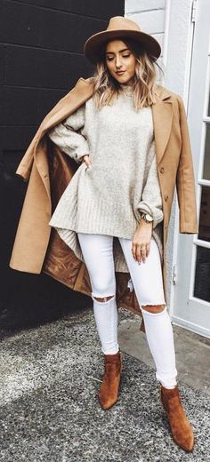 #winter #fashion // Camel Coat // Cream Oversized Sweater // Destroyed Skinny Jeans // Camel Booties