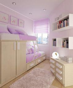 habitación para dos personas que forman una litera sobre un armario