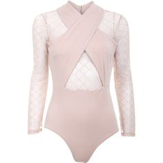 Nude Mesh Bodysuit (€28) ❤ liked on Polyvore featuring intimates and shapewear