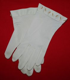 Vintage Glove White Nylon Dress Gloves with by ilovevintagestuff