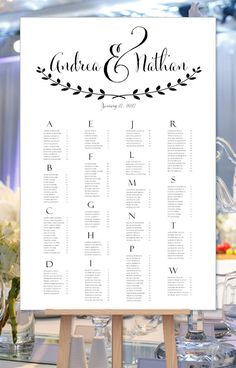 Wedding Seating Chart Poster Andrea Black & White