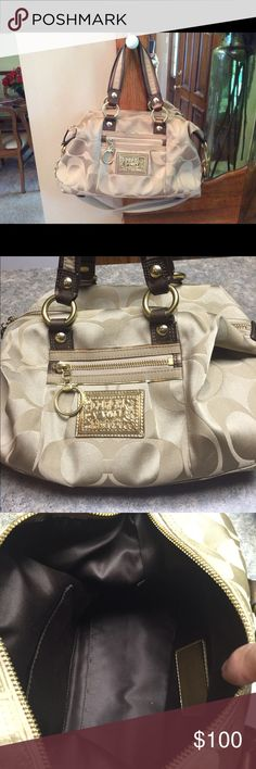 Coach purse! Gold/tan Coach purse! Dimensions are 14x9x6. Excellent condition! Very gently used. Coach Bags Shoulder Bags