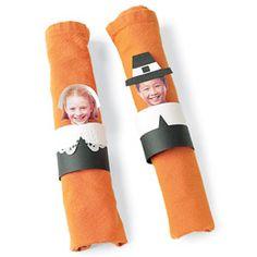 Cool Thanksgiving craft idea - photo napkin rings