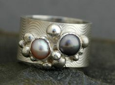 Colored Pearls in Textured Wide Band Sterling Silver Ring- Choose Your Pearls
