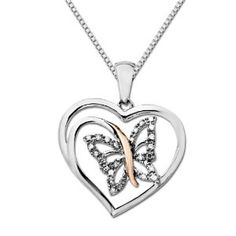 XPY Sterling Silver and 14k Pink Gold Butterfly with Diamonds in Heart Frame Pendant Necklace