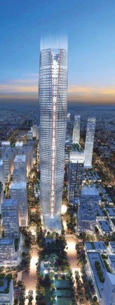 Wave City Center Iconic Tower, Noida, Delhi, India :: 100 floors, height 400m