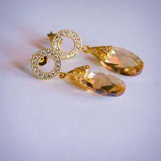 """Купить Серьги """"Брызги шампанского"""" - золотой, золотистый, цвет шампанского, позолоченные серьги"""