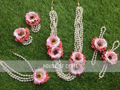 Handmade floral jewellery, can be customised according to your choice, contact 8969682007 Gota Patti Jewellery, Thread Jewellery, Jewellery Designs, Flower Jewelry, Fabric Jewelry, Bridal Jewelry, Flower Ornaments, Flower Garlands, Girls Accessories