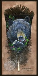 Custom Feather Painting of a Painted Feather. Your choice of Wildlife or scenic images. Mask Painting, Feather Painting, Feather Art, Native American Crafts, American Indian Art, Painted Leaves, Painted Feathers, Leaf Animals, Bear Paintings