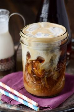 Vanilla Cinnamon Iced Coffee #recipe. I think this would be great without the sugar