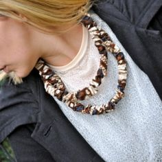 Add some fabric flair to your outfit with a DIY Scrunchy Necklace made from scrap fabric.