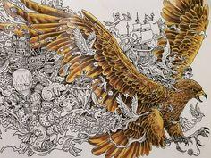 Inspiration for feathers and shading. #animorphia #imagimorphia Eagle