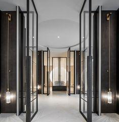 Partition Door, Lobby Reception, Hotel Door, Door Detail, Hotel Interiors, Windows And Doors, Wall Design, Wall Lights, Modern