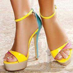 Color Block Platform Line-Style Buckle Women's Stilettos Shoes heels Shoe boots Shoes sandals Fashion shoes High heel sandals Cute shoes Yellow Sandals, Yellow Heels, Pink Heels, Trendy Shoes, Cute Shoes, Me Too Shoes, Neon Heels, Shoes Heels, Heeled Sandals